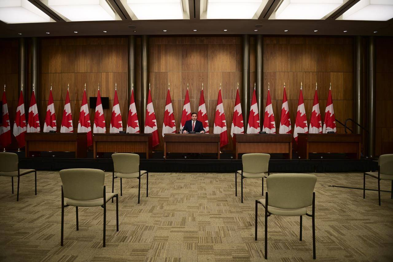 Minister of Immigration, Refugees and Citizenship Marco Mendicino holds a press conference in Ottawa on Thursday, Nov. 12, 2020. The federal government is moving forward on efforts to help citizens of Hong Kong remain in Canada rather than have to return. THE CANADIAN PRESS/Sean Kilpatrick