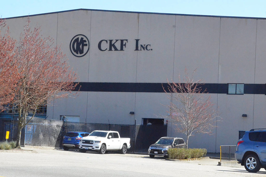 CKF's Langley manufacturing plant is the subject of a closure ordered by Fraser Health due to COVID-19 among employees. (Matthew Claxton/Langley Advance Times)