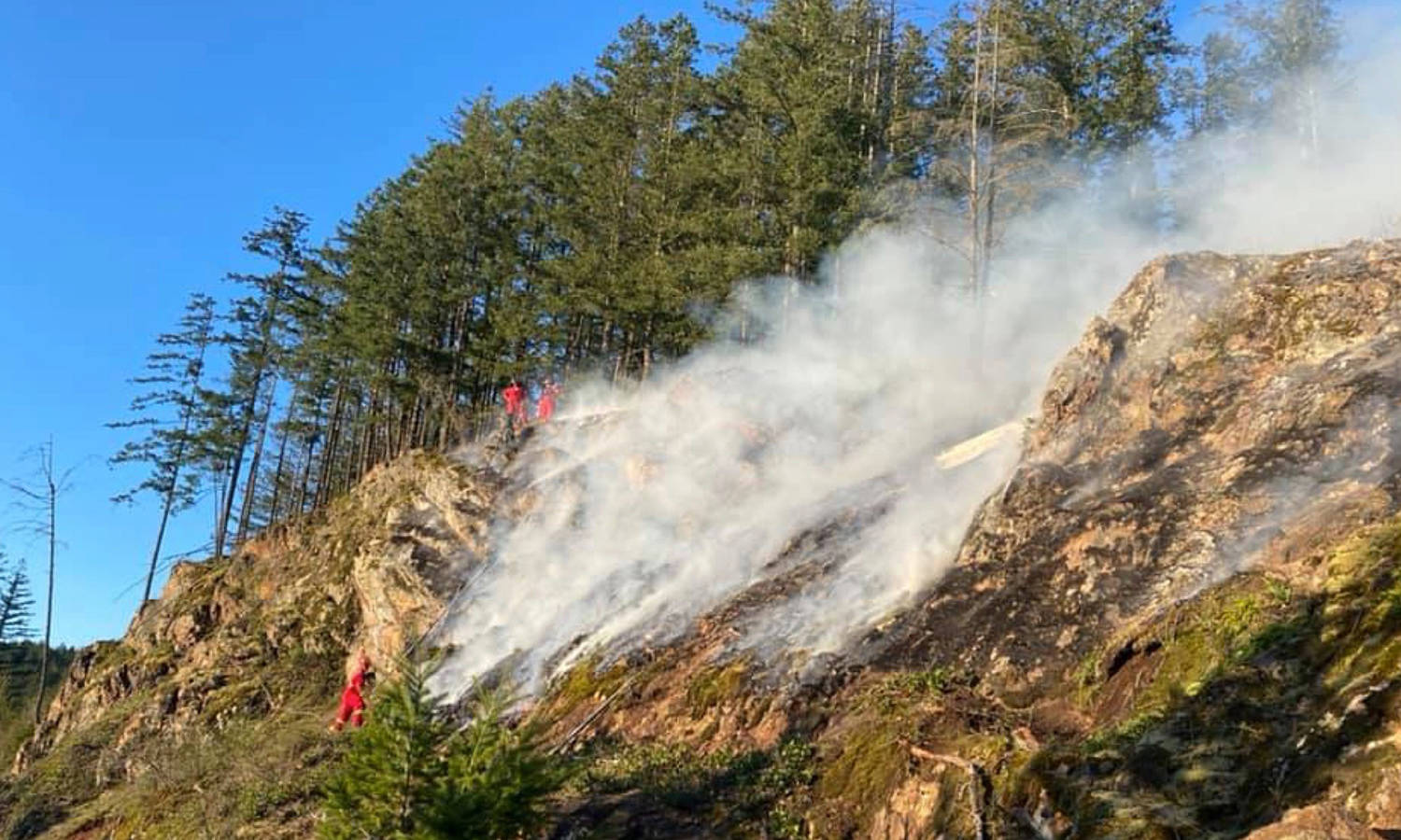 Firefighters battled a wildfire on Mount Woodside near Harrison Mills on Wednesday, April 14. Seabird Island and B.C. Wildfire Service firefighters helped keep the blaze from spreading to brush, keeping it to roughly half a hectare. (Photo/Agassiz Fire Department)