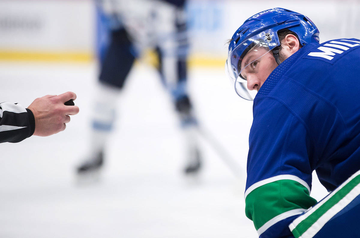 "Vancouver Canucks forward J.T. Miller said it would be ""very challenging and not very safe"" for him and his teammates to play as scheduled on Friday. THE CANADIAN PRESS/Darryl Dyck"