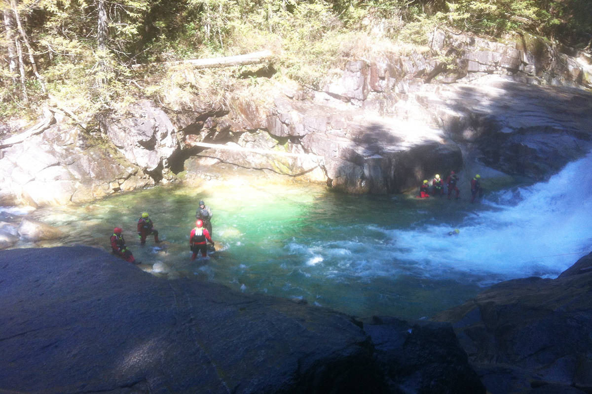 Maple Ridge Fire and Rescue were conducting training operations at Gold Creek Falls when a firefighter broke their leg. (Eileen Robinson photo - Special to The News)