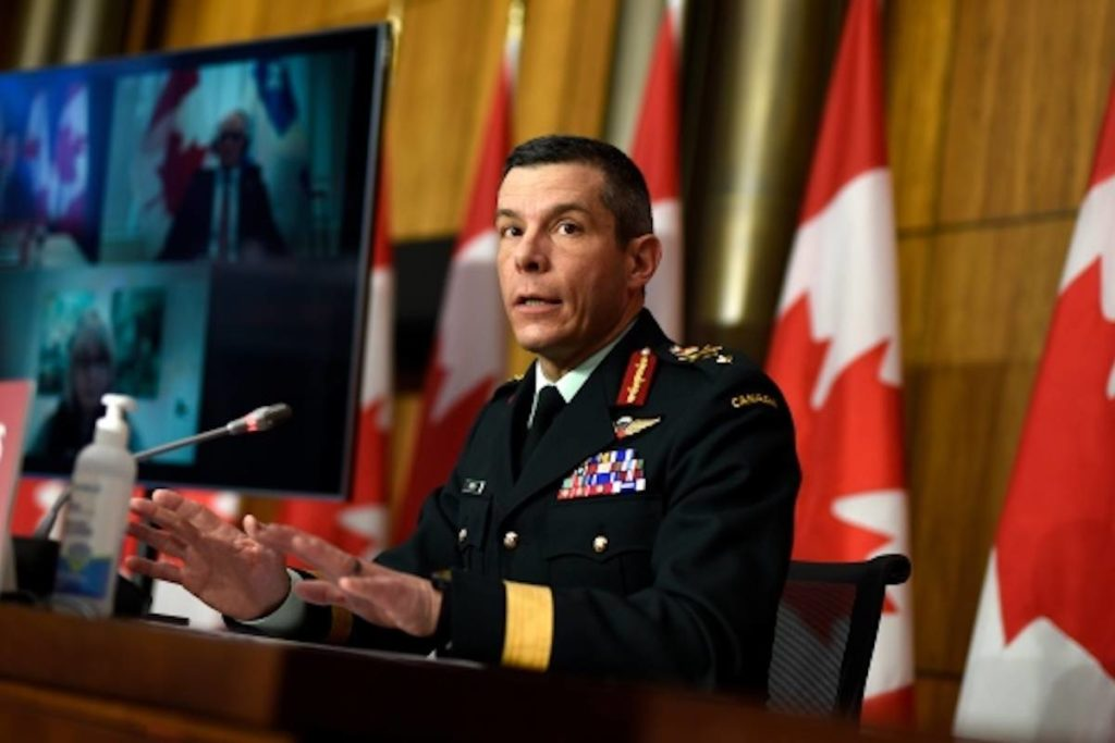 Maj.-Gen. Dany Fortin, vice-president of logistics and operations at the Public Health Agency of Canada, participates in a news conference on the COVID-19 pandemic in Ottawa, on Friday, Jan. 15, 2021. THE CANADIAN PRESS/Justin Tang