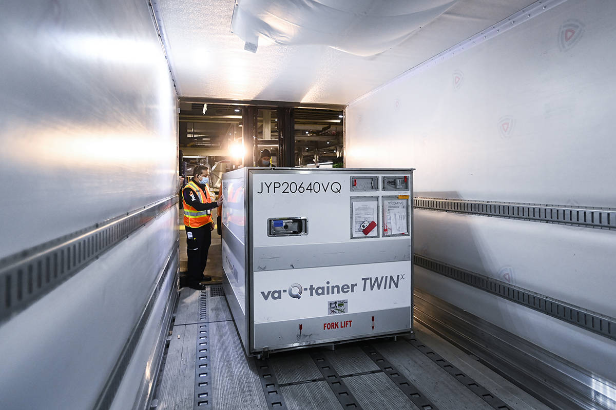 Doses of the Moderna COVID‑19 vaccine in a freezer trailer, to be transported to Canada during the COVID-19 pandemic. THE CANADIAN PRESS/Nathan Denette
