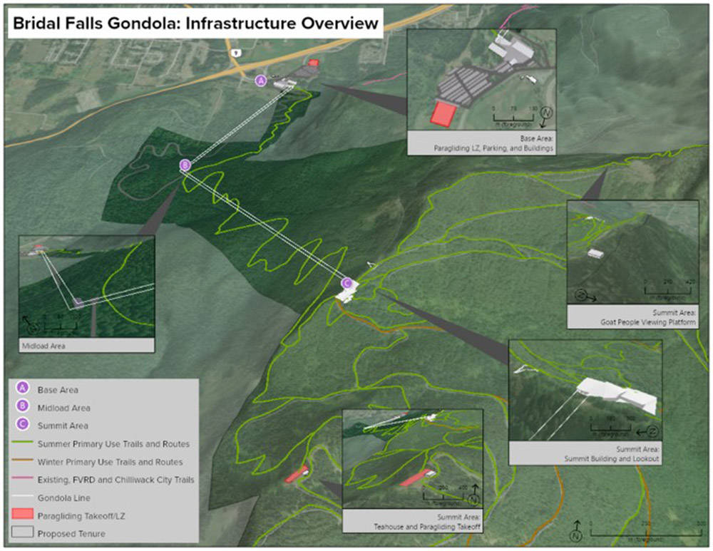 Map of the layout of the gondola project proposed by the Cheam First Nation near Chilliwack. (Submitted)