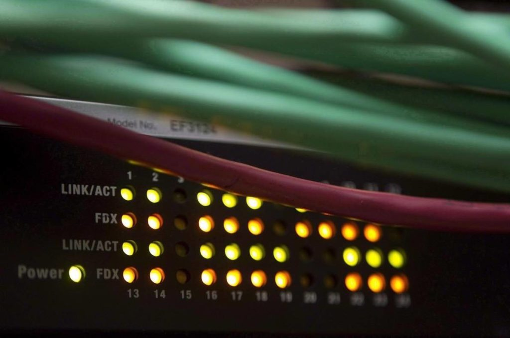 Lights on an internet switch are lit up as with users in an office in Ottawa, on February 10, 2011. THE CANADIAN PRESS/Adrian Wyld