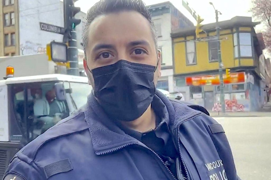 Vancouver Police Const. Deepak Sood is under review by the Independent Investigations Office of B.C. after making comments to a harm reduction advocate Sunday, April 11. (Screen grab)