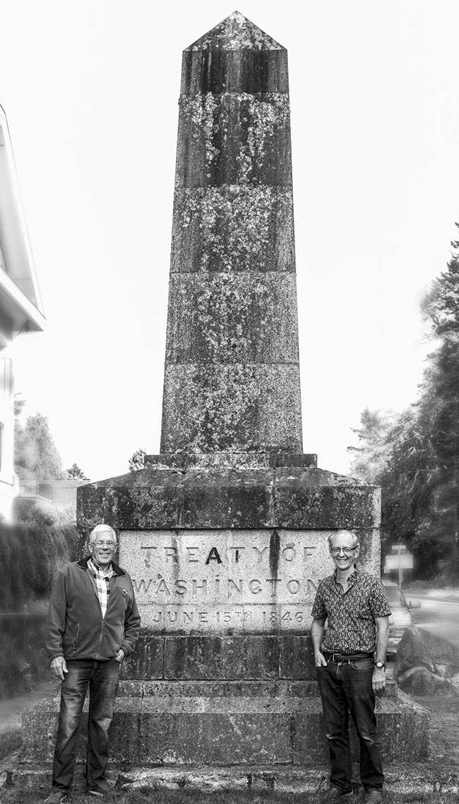 Authors Jim Dwight and Gary Cullen beside the Treaty of Washington monument today.