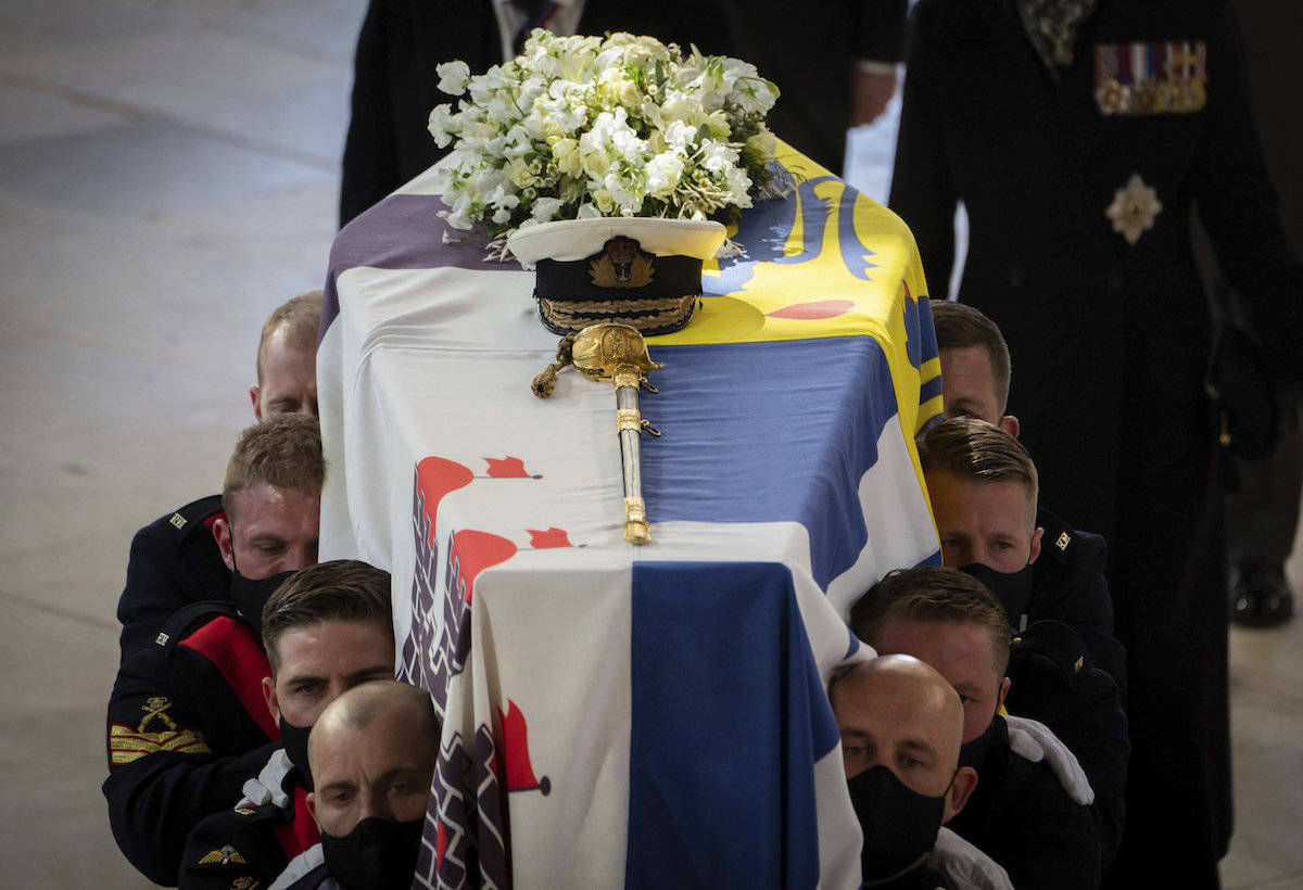 The funeral of Britain's Prince Philip in Windsor, England, on Saturday, April 17, 2021. Philip died April 9 at the age of 99. (Kirsty Wigglesworth/AP)