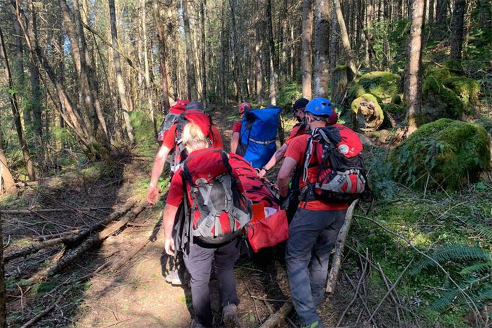 Chilliwack Search and Rescue volunteers say that a call on April 17 on Vedder Mountain was affected by bikers who rode through the rescue site, throwing rocks onto members and the patient. (Chilliwack Search and Rescue image)