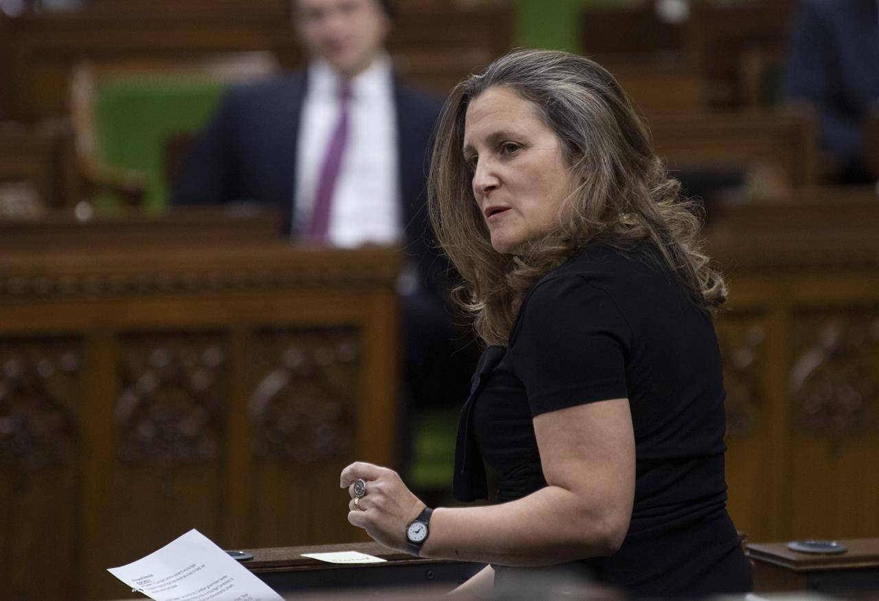 Deputy Prime Minister and Minister of Finance Chrystia Freeland responds to a question during Question Period in the House of Commons Tuesday December 8, 2020 in Ottawa. The stage is set for arguably the most important federal budget in recent memory, as the Liberal government prepares to unveil its plan for Canada's post-pandemic recovery even as a third wave of COVID-19 rages across the country. THE CANADIAN PRESS/Adrian Wyld
