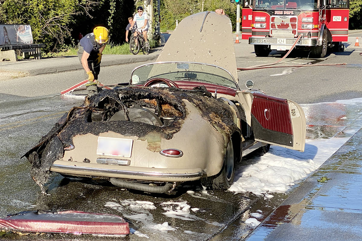 A classic Porsche Speedster replica caught fire on a Langley road around 6 p.m. on Saturday, April 17, 2021. (Darren Carlson/Special to Langley Advance Times)
