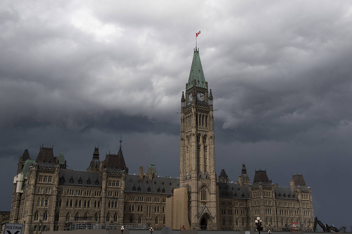 Storm clouds pass by the Peace tower and Parliament hill Tuesday August 18, 2020 in Ottawa. The parliamentary budget office says a one-time payment this fall to people with disabilities will cost the federal treasury $792 million. THE CANADIAN PRESS/Adrian Wyld