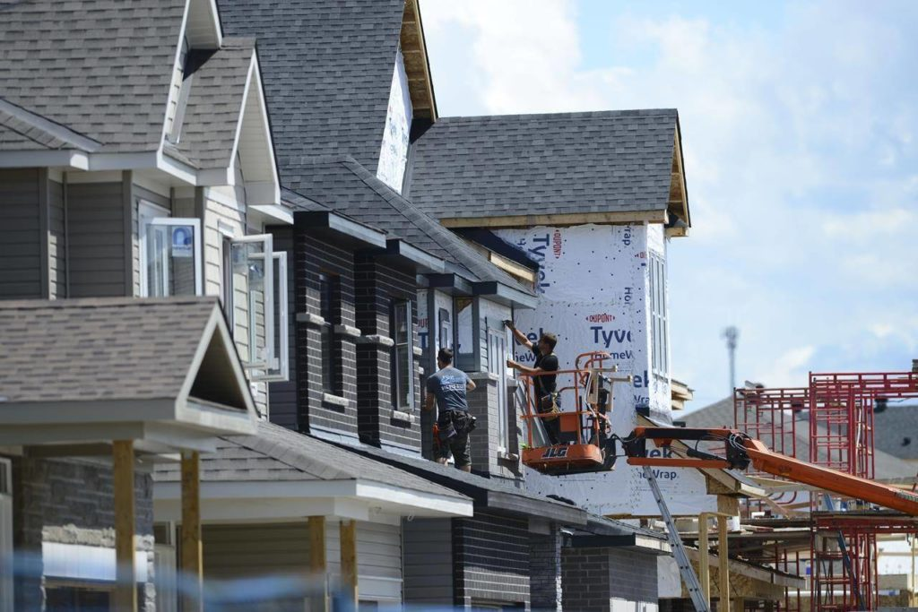 A new home is built in a housing development in Ottawa on Tuesday, July 14, 2020. THE CANADIAN PRESS/Sean Kilpatrick