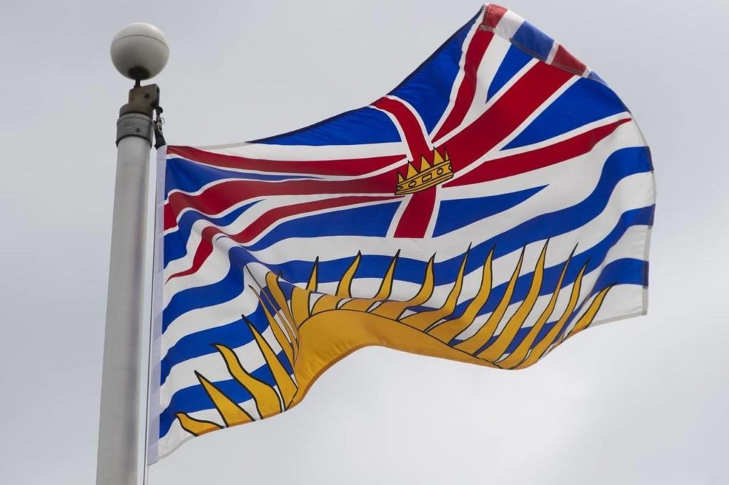 British Columbia's provincial flag flies in Ottawa, Friday July 3, 2020. THE CANADIAN PRESS/Adrian Wyld