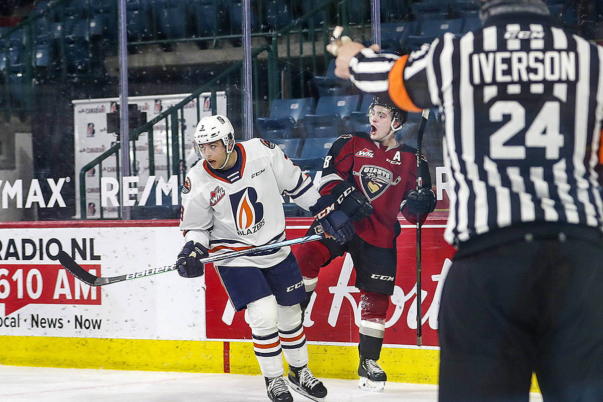 A defeat Sunday in Kamloops tied up the Giants and Blazers for the most wins this season. Each team has notched seven victories in the B.C. division play unfolding this season on ice in Kamloops and Kelowna. (Allen Douglas/Special to Black Press Media)
