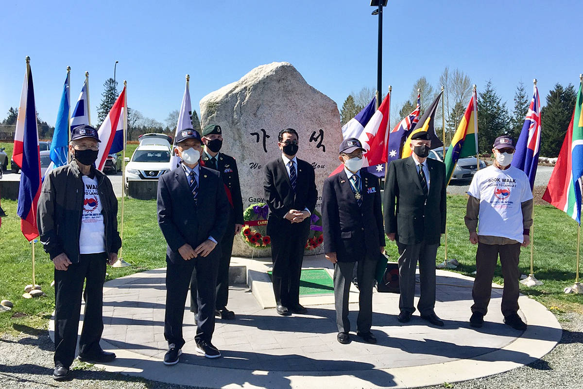 Dignitaries from China and Korea gathered for a small ceremony Friday marking the 70th anniversary of Canadian Forces participation in a Korean War battle. (Michael Chong/Special to the Langley Advance Times)