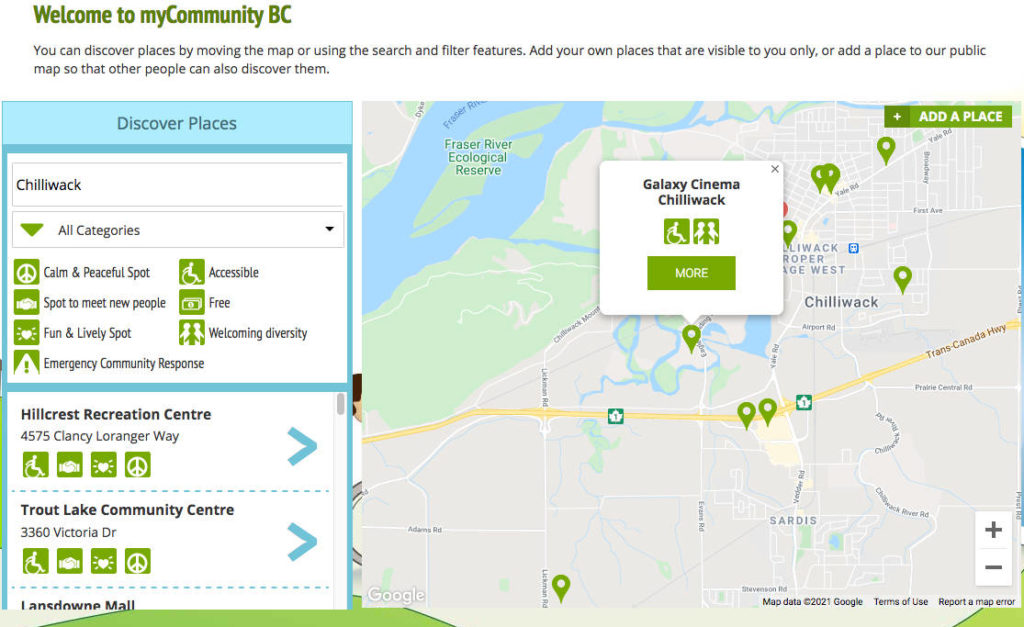 The myCommunity BC map provides accessibility info for several Chilliwack destinations.