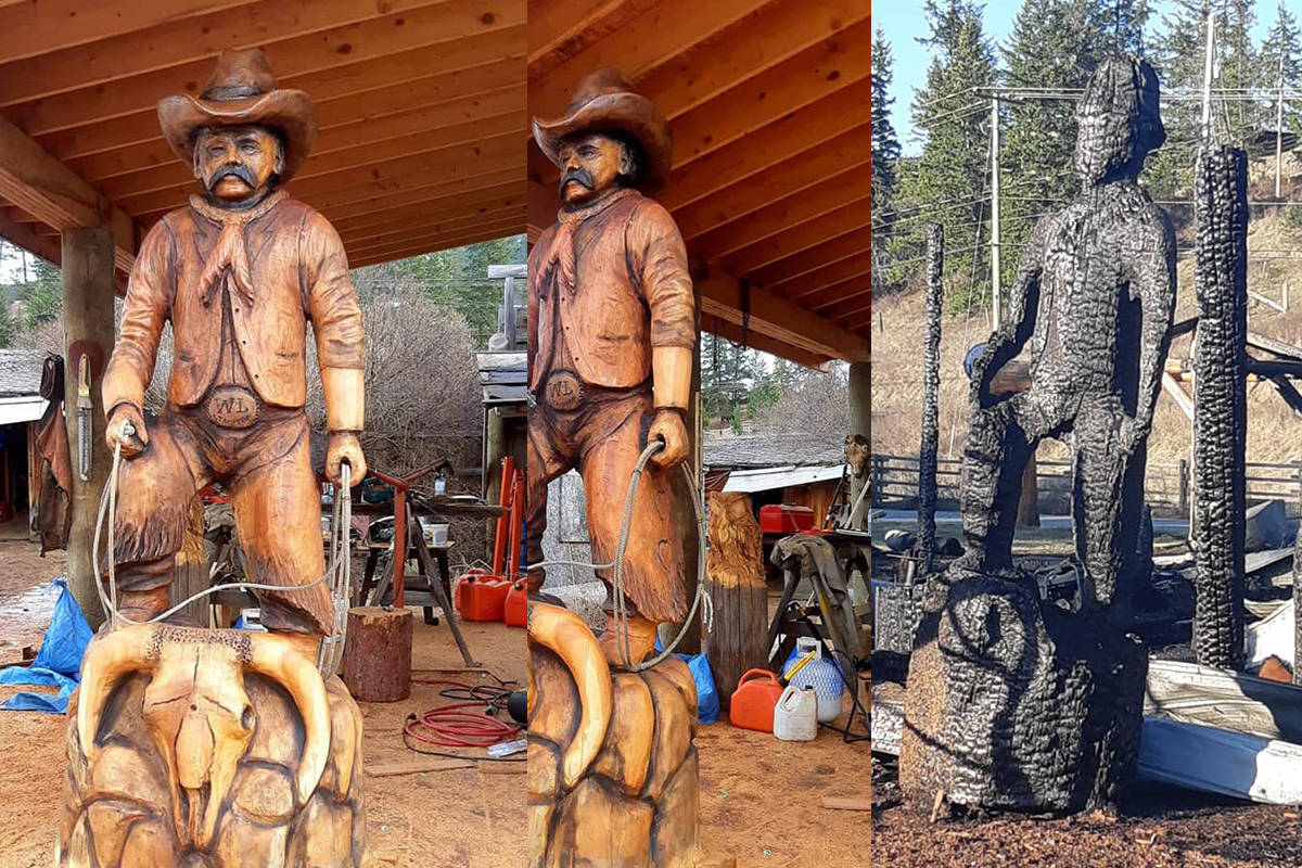 Carver Ken Sheen had almost finished work on a large cowboy carving commissioned by the City of Williams Lake to replace the original overlooking the Stampede Grounds when fire broke out Friday, April 18 at his property between Williams Lake and Quesnel. (Pine River Carving Facebook photos)