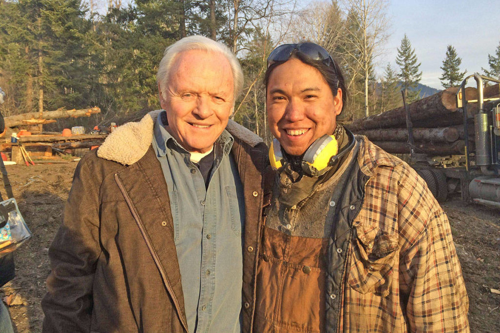 William Belleau, right, poses with actor Anthony Hopkins during the filming of Blackway in Vernon, B.C. in 2016. (Photo submitted)