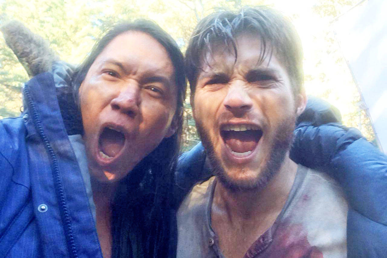 William Belleau, left, on the set of Diablo with Scott Eastwood, Clint Eastwood's son. (Photo submitted)