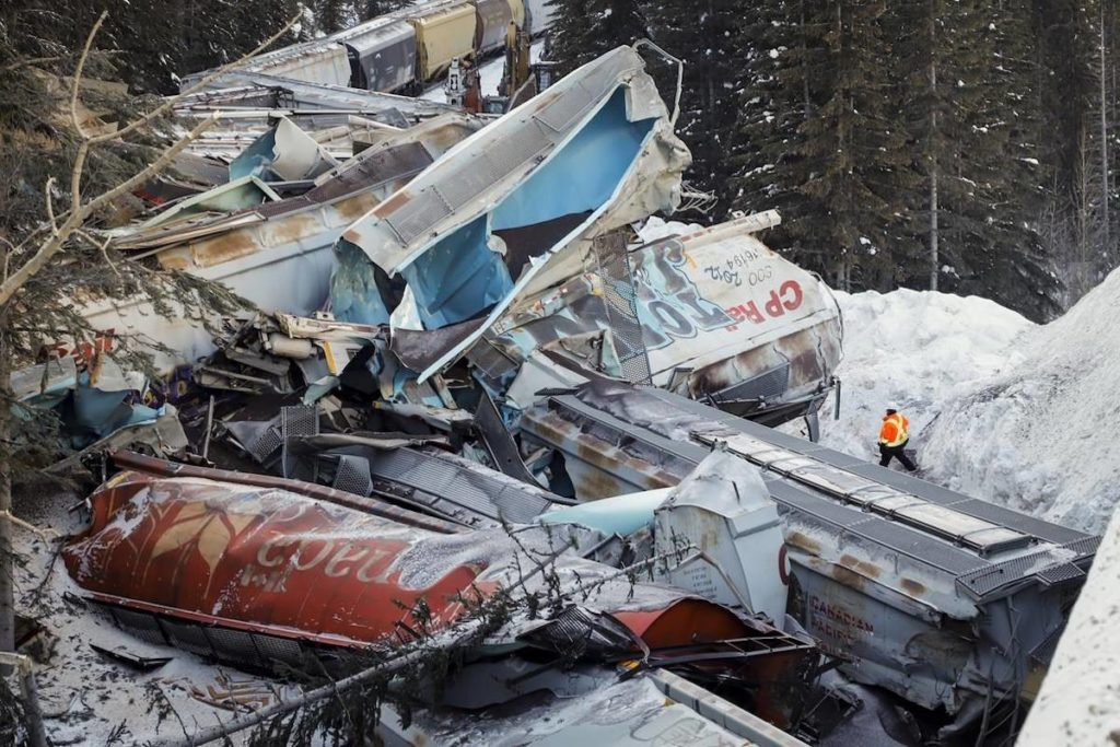 Families of two of three workers killed in a train derailment near Field, B.C., in 2019 have filed lawsuits accusing Canadian Pacific of gross negligence. The derailment sent 99 grain cars and two locomotives off the tracks. THE CANADIAN PRESS/Jeff McIntosh