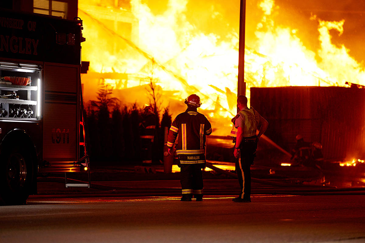 Firefighters were called to a battle a massive blaze at a condo building under construction at 208th and 80th Avenue on Monday night (April 19, 2021) around 10 p.m. (Rob Wilton/Special to Langley Advance Times)