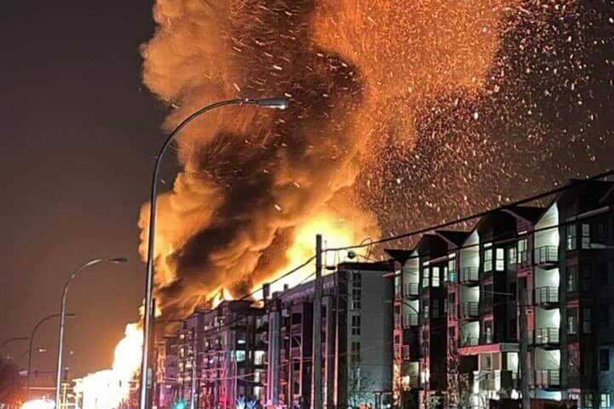 Firefighters were called to a battle a massive blaze at a condo building under construction at 208th and 80th Avenue on Monday night (April 19, 2021) around 10 p.m. (Wayne Eeckhout/Special to Langley Advance Times)