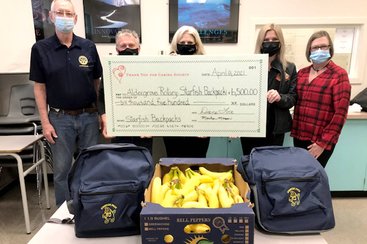 Displaying the cheque at the regular Thursday meeting to fill the backpacks are Aldergrove Rotary members Charlie Fox, Rob Robinson, Lara Petrie and Marilyn Froese, plus Christmas Tea committee member, Diane Fox. (Special to The Star)