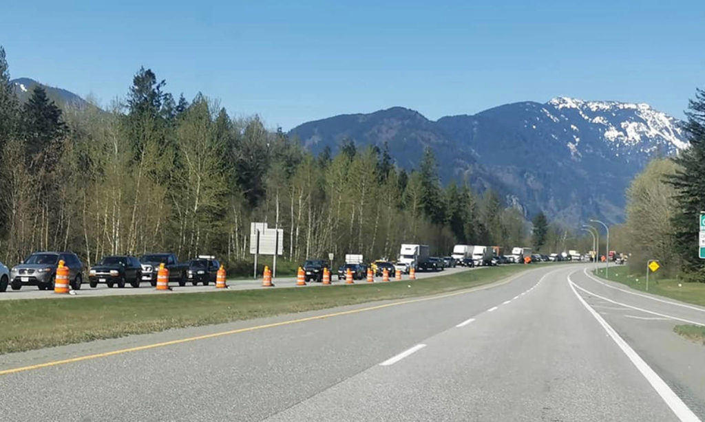 Westbound Highway 1 traffic near Herrling Island is backed up a long way following a vehicle incident. (Photo/Trish Dunbar)