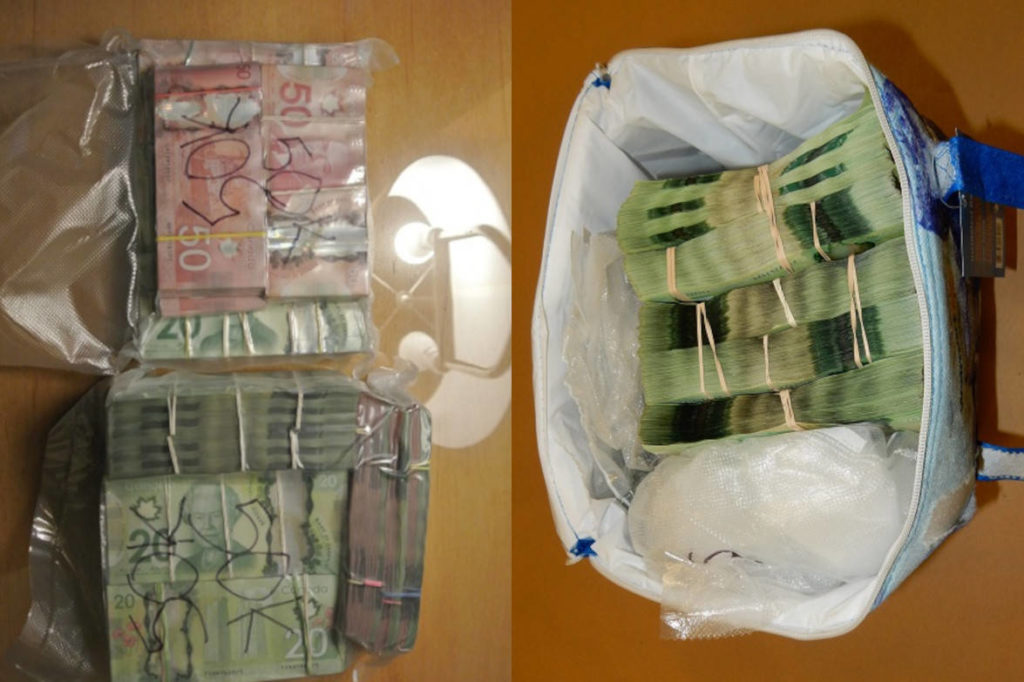 Cash seized in a 2018 RCMP drug bust in the Lower Mainland. (Contributed)