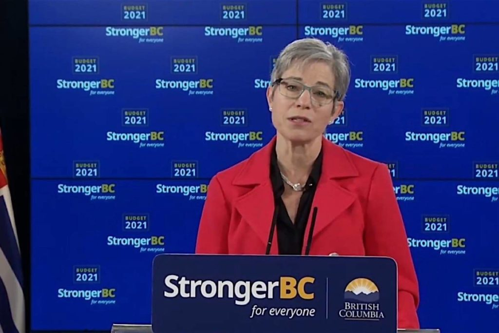 B.C. Finance Minister Selina Robinson outlines the province's three-year budget in Victoria, April 20, 2021. (B.C. government video)