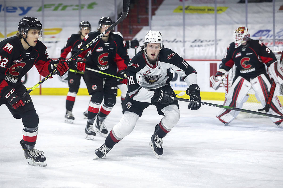 The Giants play at Prospera Place in Kelowna Wednesday night against Victoria, then are back on the same ice again Saturday to take on the Rockets. They defeated Prince George Monday, 2-1 in Kamloops. (Allen Douglas/Special to Black Press Media)