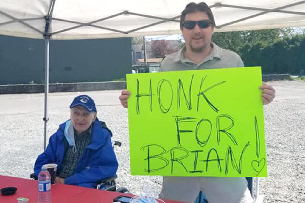 A well-known Aldergrove face, Brian, was the centre of fanfare on Sunday when people took time to wave, honk, and visit with the senior. (Special to The Star)
