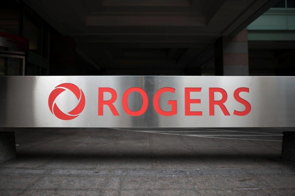 The Rogers Logo is photographed on a Toronto office on Monday, September 30, 2019. THE CANADIAN PRESS/ Tijana Martin