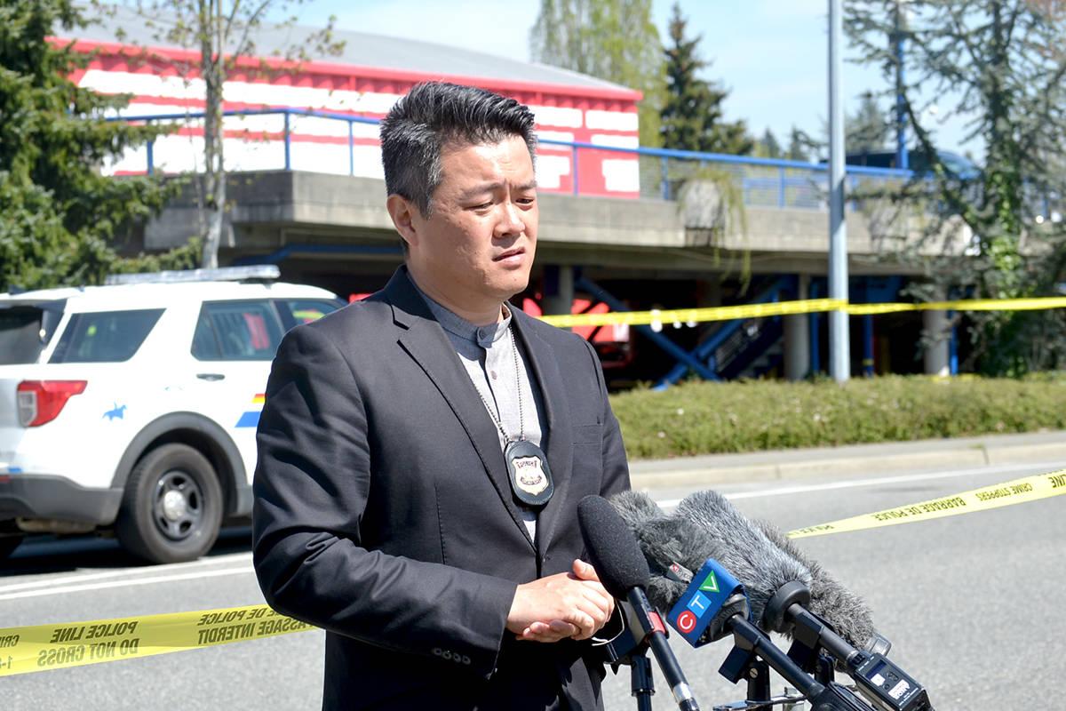 Man gunned down Wednesday morning outside of Langley Sportsplex at 91a Ave and 200 Street. (Ryan Uytdewilligen/The Star)