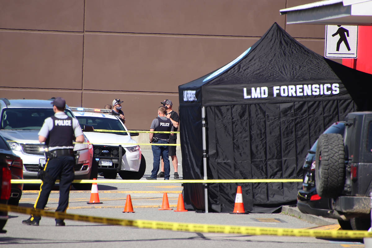 Man gunned down Wednesday morning outside of Langley Sportsplex at 91a Ave and 200 Street. (Shane MacKicha/Special to The Star)