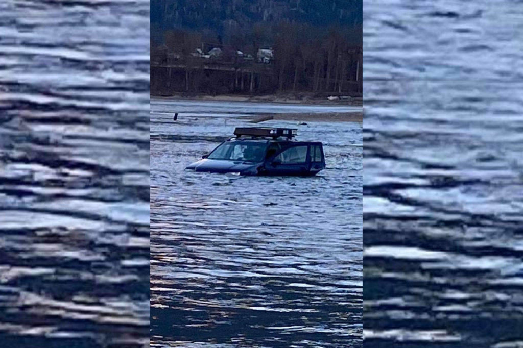 Kai Palkeinen recently helped a car stuck on the riverbed near the Big Eddy Bridge. While the car could not be saved, some of the driver's belongings were. It's common for vehicles to get stuck in the area due to significantly changing river levels from Revelstoke Dam. (Photo by Kai Palkeinen)