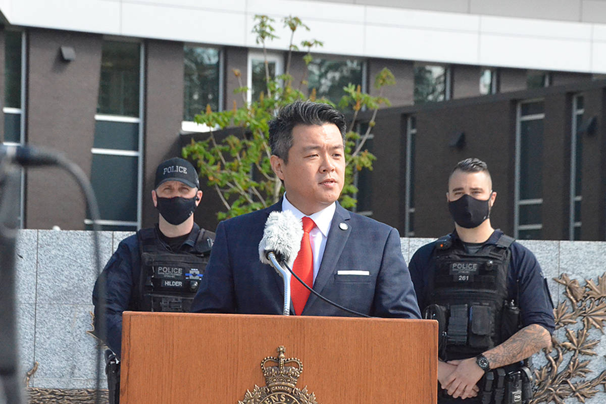 Sgt. Frank Jang of IHIT spoke Thursday morning at the press conference about three recent gangland murders, including the killing of UN Gang member Todd Gouwenberg at the Langley Sportsplex on April 21. (Matthew Claxton/Langley Advance Times)