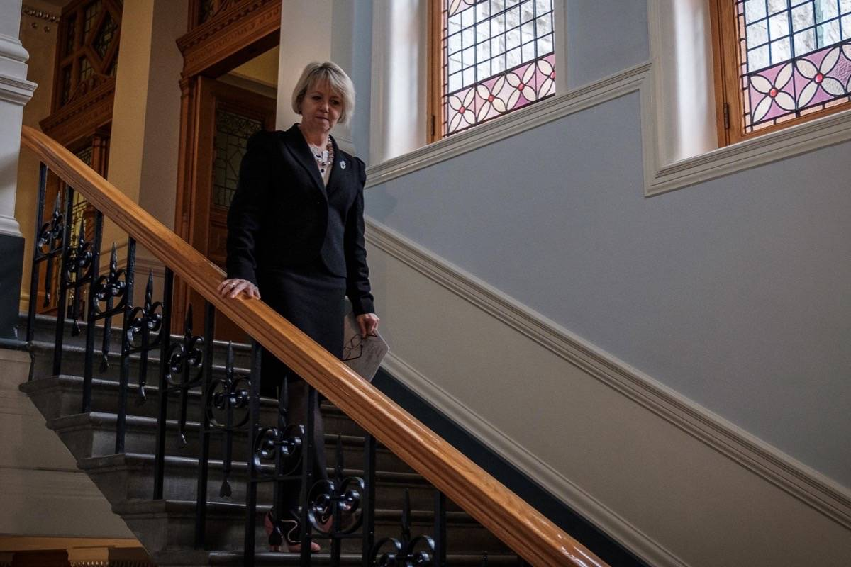 Provincial health officer Dr. Bonnie Henry arrives for briefing on the COVID-19 situation, B.C. legislature, Oct. 26, 2020 (B.C. government)