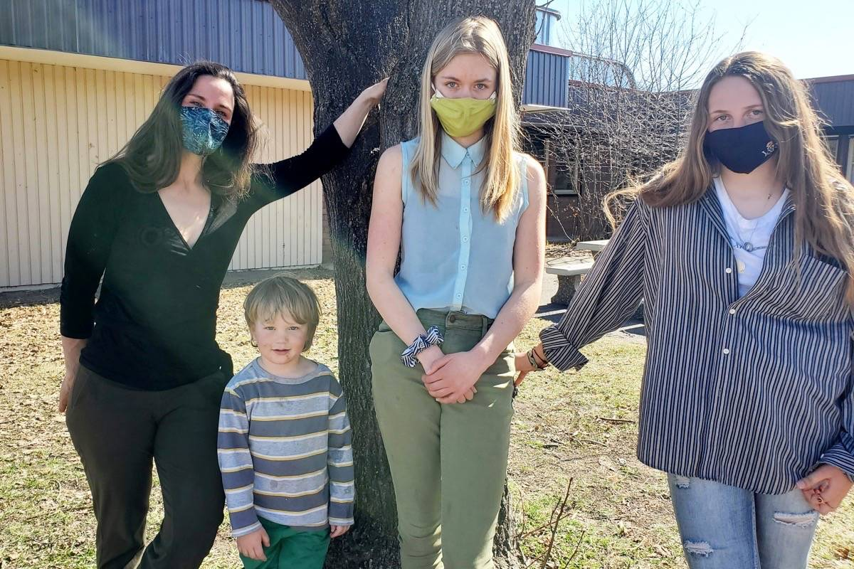 Shannon Zirnhelt, from left, her son Lockie, 3, Julia Zirnhelt, 13, and Ella Krus, 13, co-founders of Third Planet Crusade are featured in a music video set to air on Earth Day, April 22, 2021. (Monica Lamb-Yorski photo - Williams Lake Tribune)