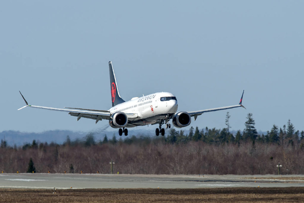 An Air Canada Boeing 737 MAX 8 jet arrives at Halifax Stanfield International Airport on Friday, April 9, 2021. THE CANADIAN PRESS/Andrew Vaughan