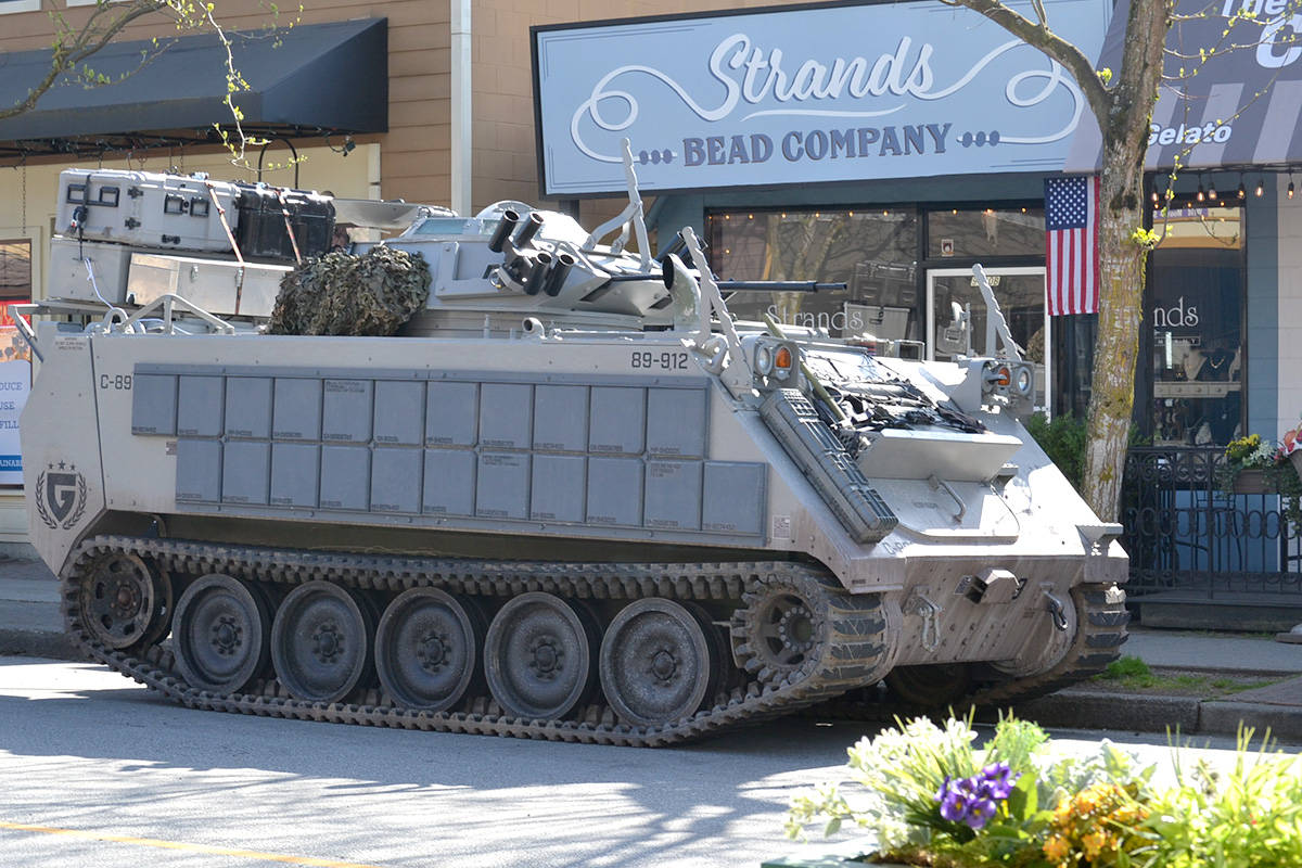 Sonic the Hedgehog 2 films in Fort Langley - covering Glover Road with tanks, rockets, and army men. (Ryan Uytdewilligen/Aldergrove Star)