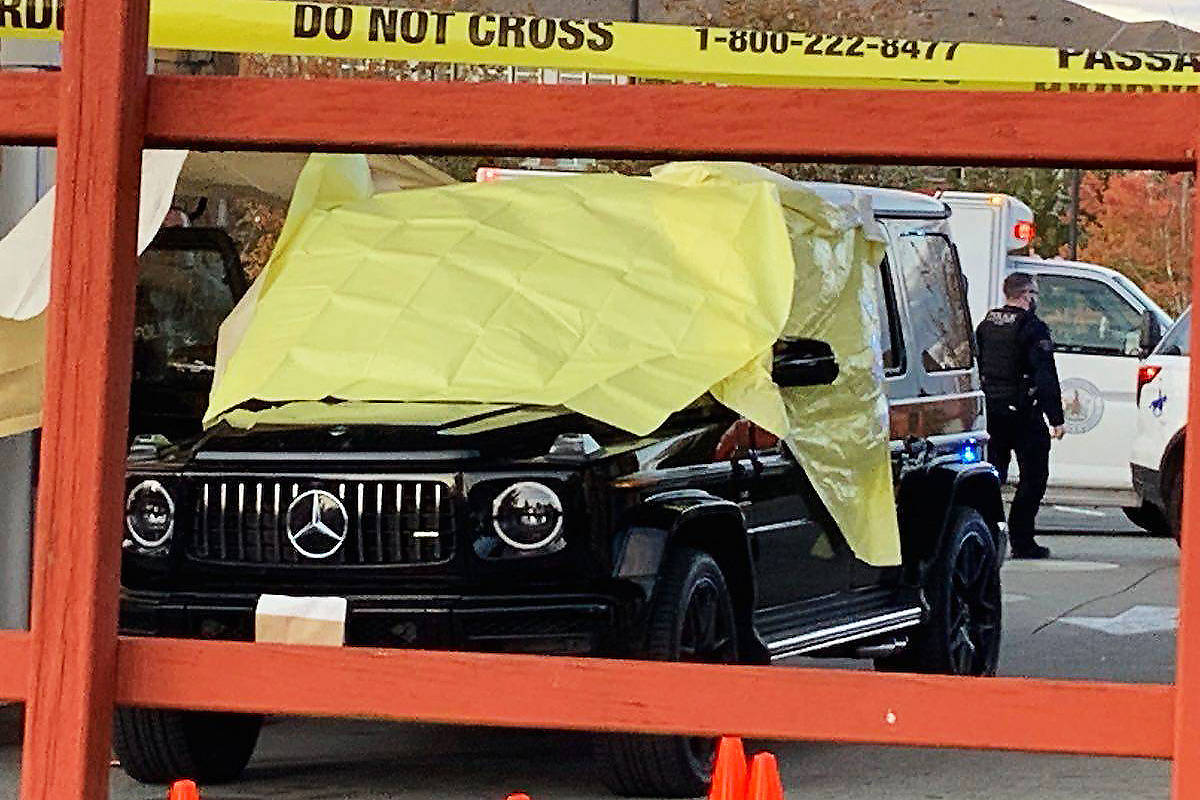 A Mercedes SUV is covered at a gas station in the Clayton area following a deadly shooting there on Sept. 28, 2019. Carlos Monteith, the man charged in the Clayton shooting, was sentenced April 22 on charges related to a different shooting in New West in November, 2019. (File photo)