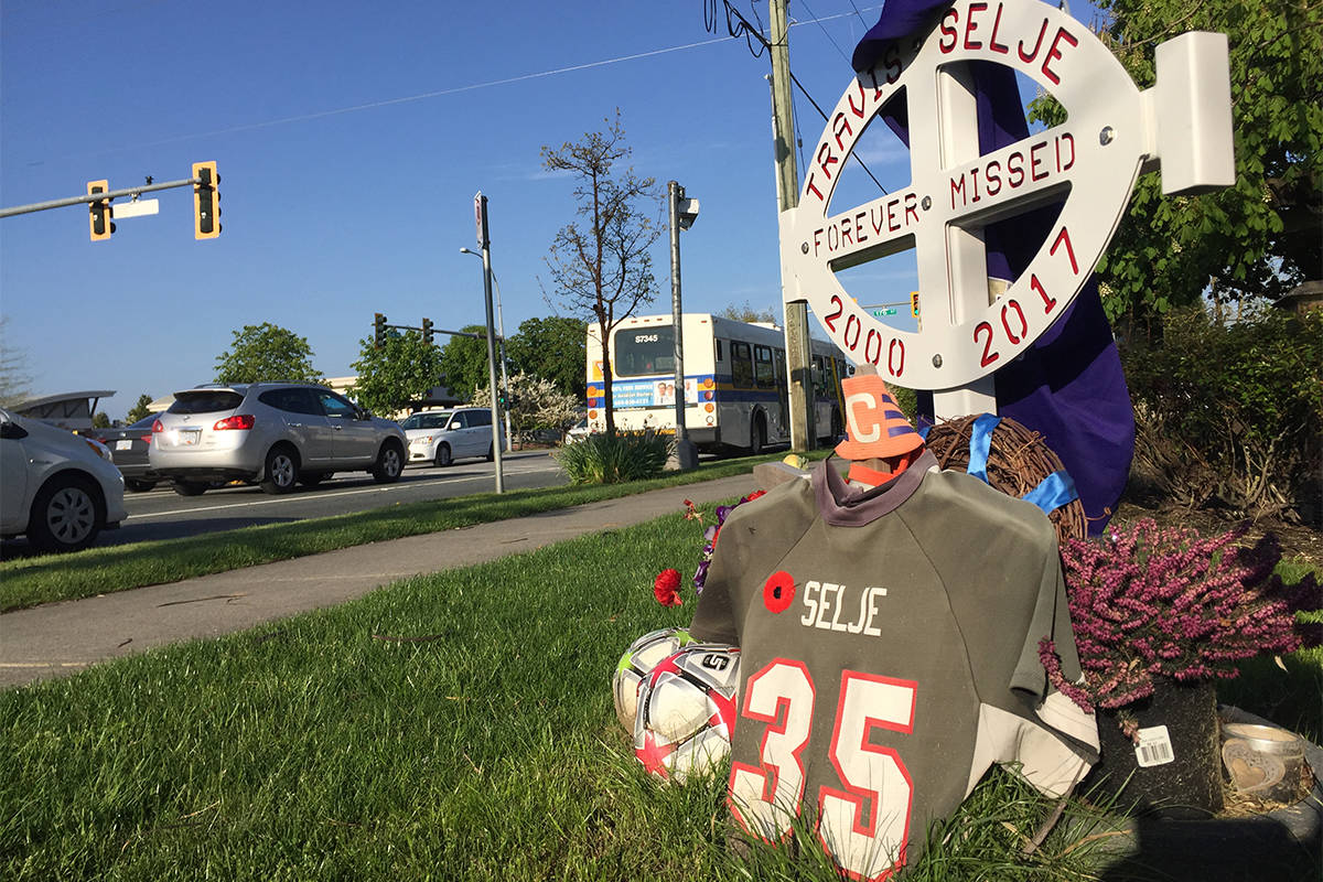 Memorial for Travis Selje on 64th Avenue in Cloverdale, west of 176th Street. (Photo: Tom Zillich)