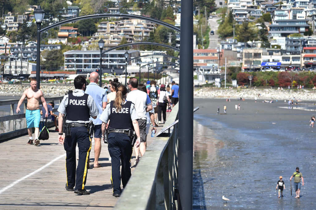 White Rock council say closure of the city's pier, promenade and parking lots are not under consideration at this time, but have approved other COVID-19 options for the waterfront including stepped-up RCMP patrols that are already part of detachment planning. (Aaron Hinks photo)