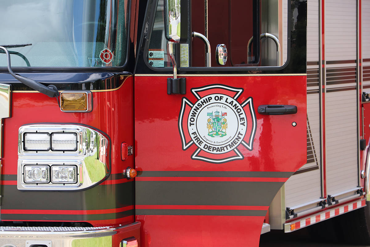 Township of Langley Fire Department was called to a property in the area of 230th Street and 70A Avenue on Wednesday around 1 p.m.. (Joti Grewal/Langley Advance Times)