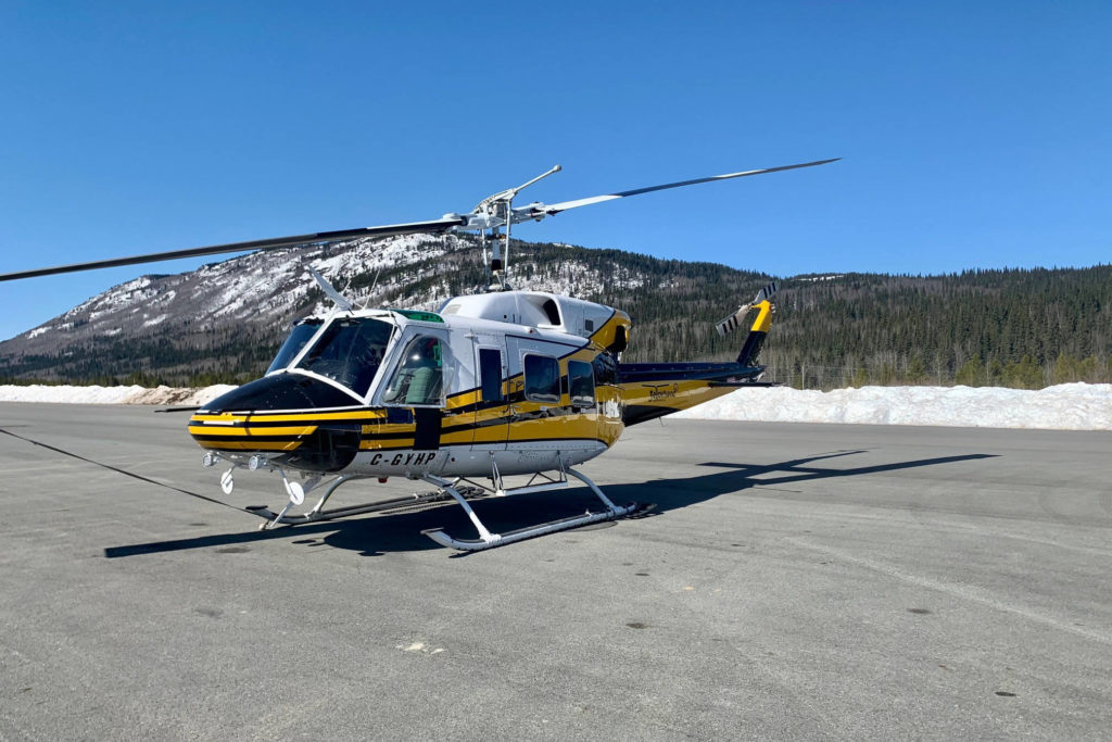 A Klee Cho Aviation B206 sits at the Dease Lake Airport on April 18 before moving passengers and supplies to Telegraph Creek. (Submitted Photo/ Mark Wheatley)