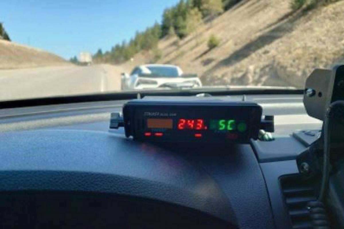 An officer with Traffic Services was shocked when his in-car radar unit captured a northbound Corvette travelling at more than double the 120 km/hr speed limit, registering with an unbelievable speed of 243 km/hr. (BC RCMP)