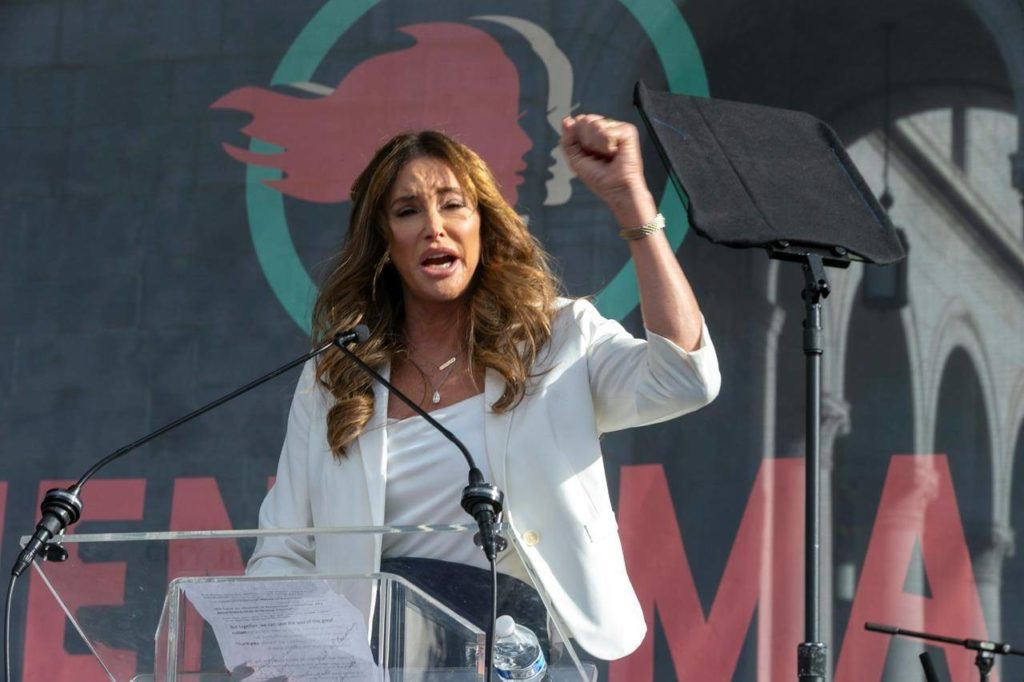 FILE - In this Jan. 18, 2020, file photo Caitlyn Jenner speaks at the 4th Women's March in Los Angeles. Jenner has been an Olympic hero, a reality TV personality and a transgender rights activist. Jenner has been consulting privately with Republican advisers as she considers joining the field of candidates seeking to replace Democratic Gov. Gavin Newsom in a likely recall election later this year. (AP Photo/Damian Dovarganes, File)