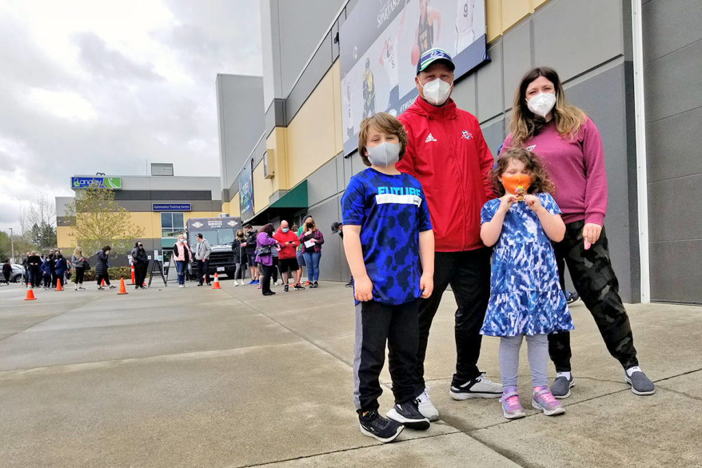 When they heard about the drop-in COVID-19 vaccination clinic at the Langley Events Centre on Sunday, April 25, the Crocker family wasted no time getting there. (Dan Ferguson/Langley Advance Times)